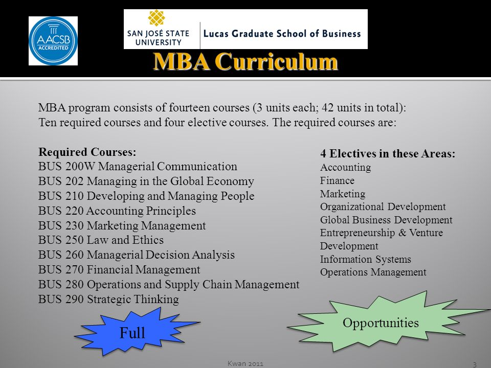 3 MBA Curriculum MBA program consists of fourteen courses (3 units each; 42 units in total): Ten required courses and four elective courses.