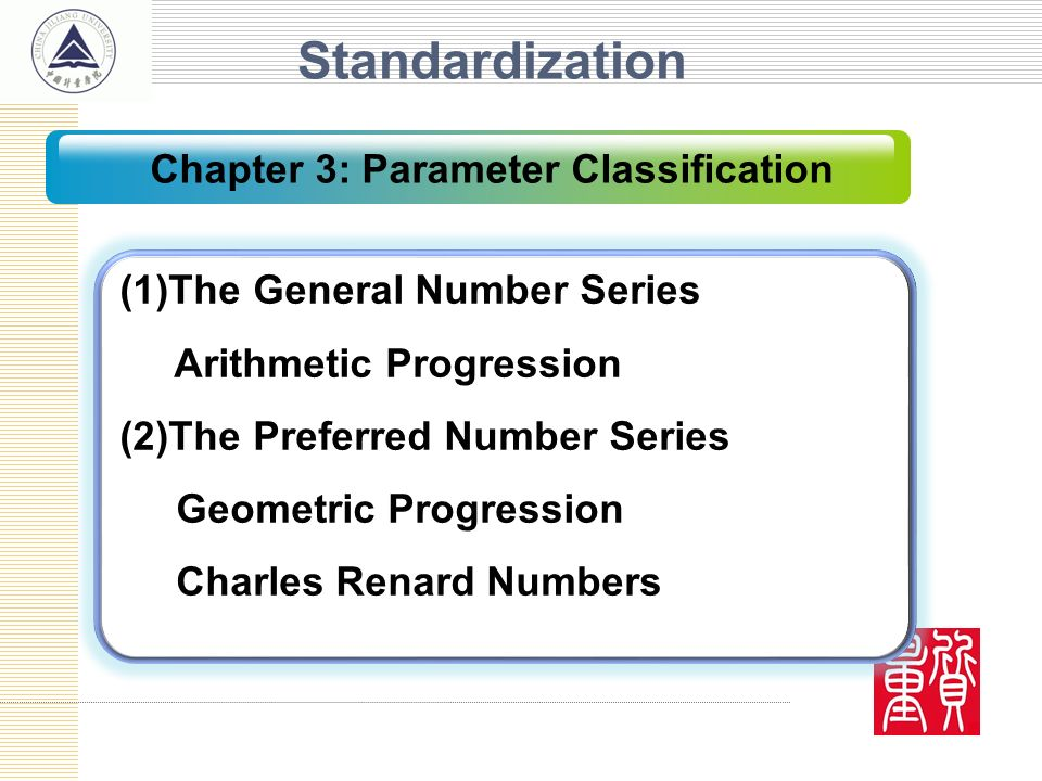 Standardization (1)The General Number Series Arithmetic Progression (2)The Preferred Number Series Geometric Progression Charles Renard Numbers Chapte