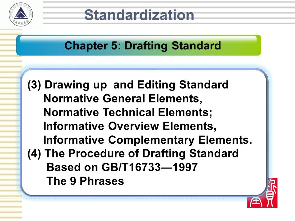 Standardization (3) Drawing up and Editing Standard Normative General Elements, Normative Technical Elements; Informative Overview Elements, Informati