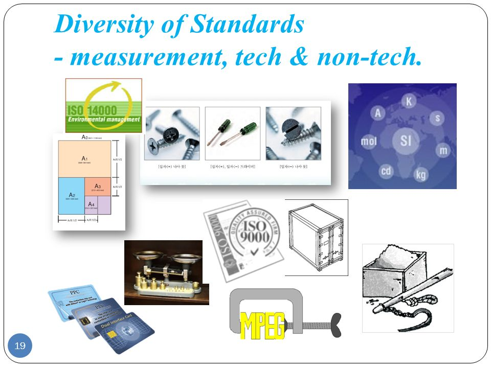 Diversity of Standards - measurement, tech & non-tech. 19