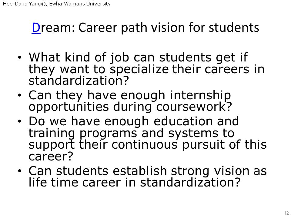 Hee-Dong Yang©, Ewha Womans University Dream: Career path vision for students What kind of job can students get if they want to specialize their careers in standardization.