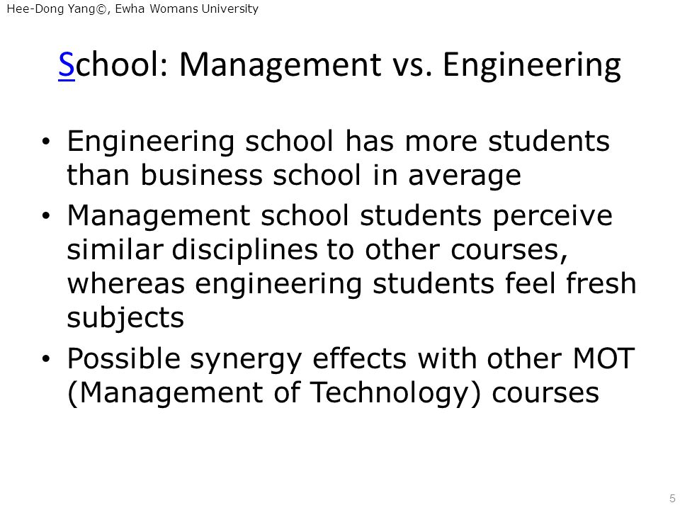 Hee-Dong Yang©, Ewha Womans University School: Management vs.
