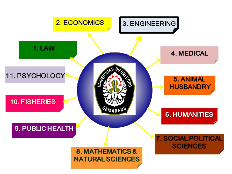 1. LAW 2. ECONOMICS 10. FISHERIES 3. ENGINEERING 4.