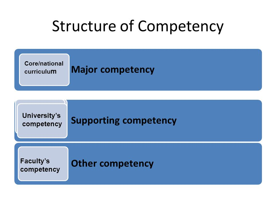 Structure of Competency Major competency Supporting competency Other competency Universitys competency Core/national curriculu m Universitys competency Facultys competency