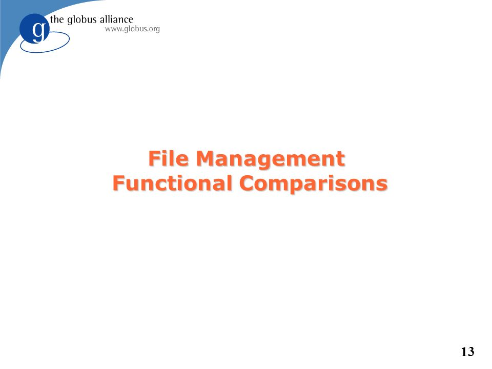 13 File Management Functional Comparisons