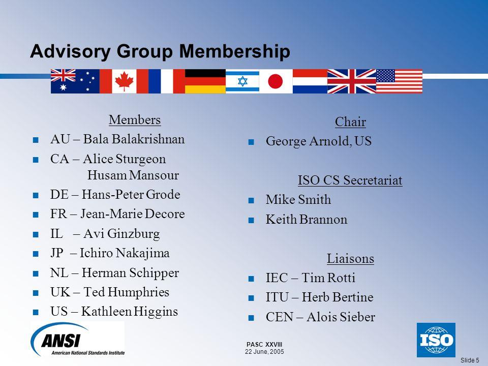 PASC XXVIII 22 June, 2005 Slide 5 Advisory Group Membership Members AU – Bala Balakrishnan CA – Alice Sturgeon Husam Mansour DE – Hans-Peter Grode FR