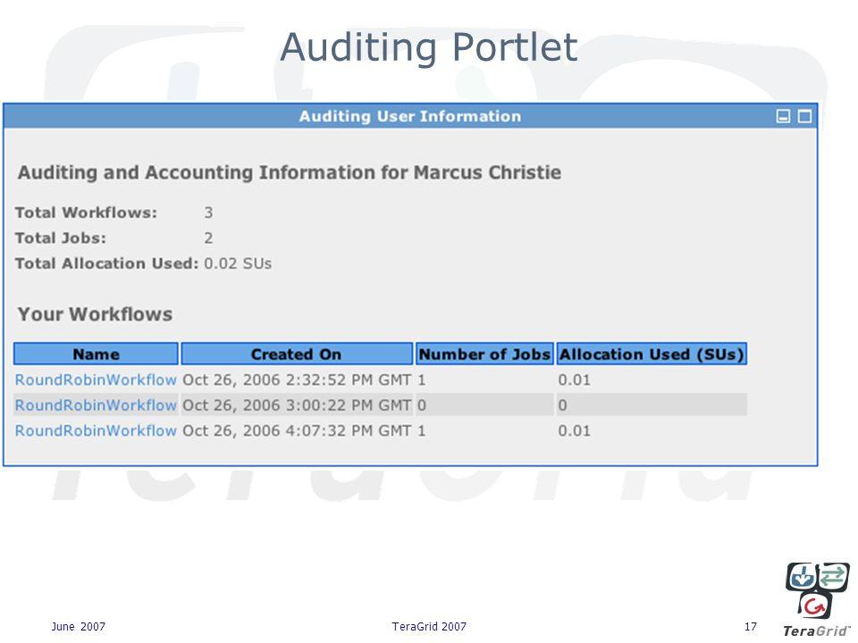 June 2007TeraGrid 200717 Auditing Portlet