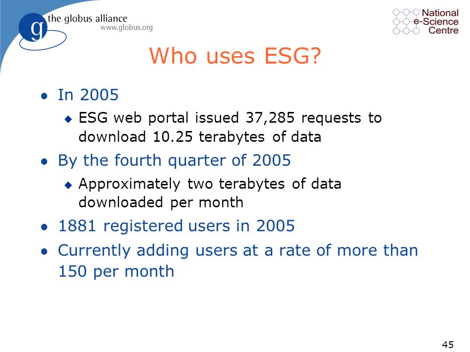 45 Who uses ESG? l In 2005 u ESG web portal issued 37,285 requests to download 10.25 terabytes of data l By the fourth quarter of 2005 u Approximately