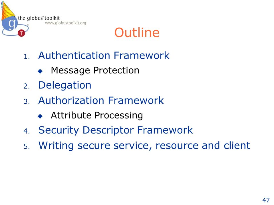 47 1. Authentication Framework u Message Protection 2.
