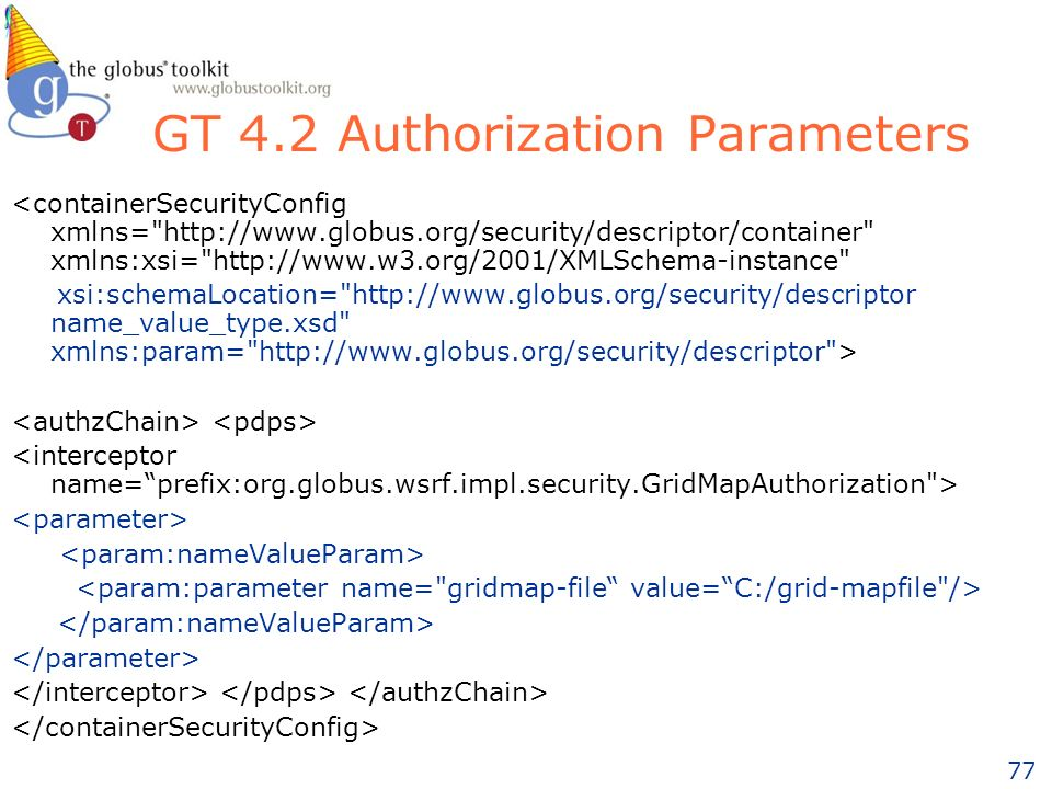 77 GT 4.2 Authorization Parameters <containerSecurityConfig xmlns= http://www.globus.org/security/descriptor/container xmlns:xsi= http://www.w3.org/2001/XMLSchema-instance xsi:schemaLocation= http://www.globus.org/security/descriptor name_value_type.xsd xmlns:param= http://www.globus.org/security/descriptor >