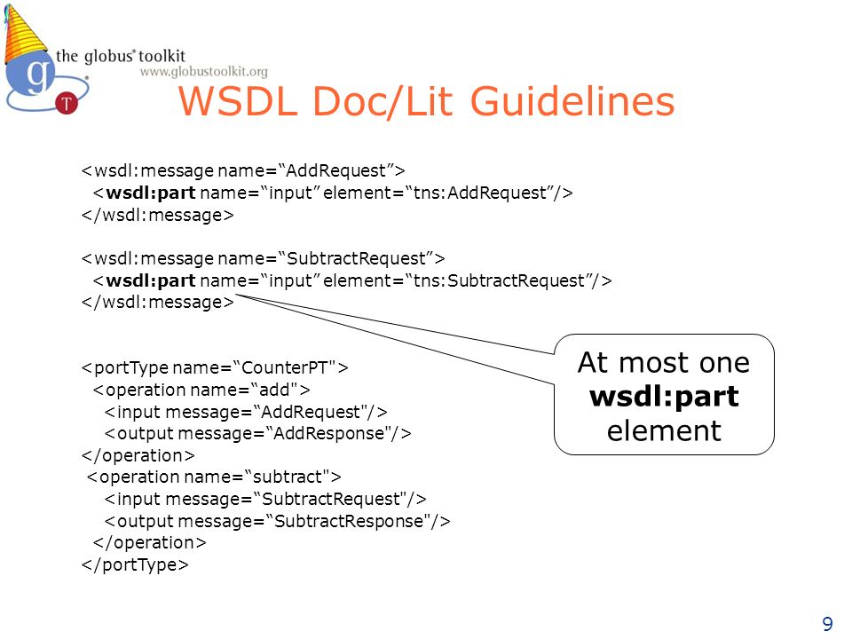 9 WSDL Doc/Lit Guidelines At most one wsdl:part element