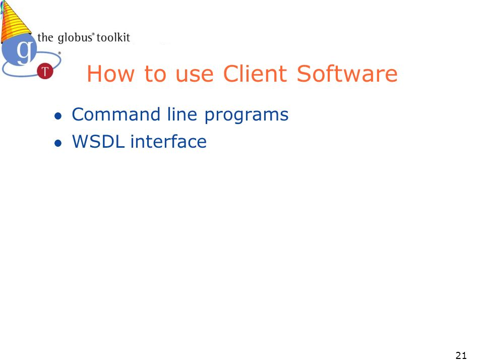 21 How to use Client Software l Command line programs l WSDL interface