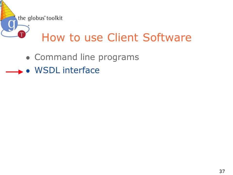37 How to use Client Software l Command line programs l WSDL interface