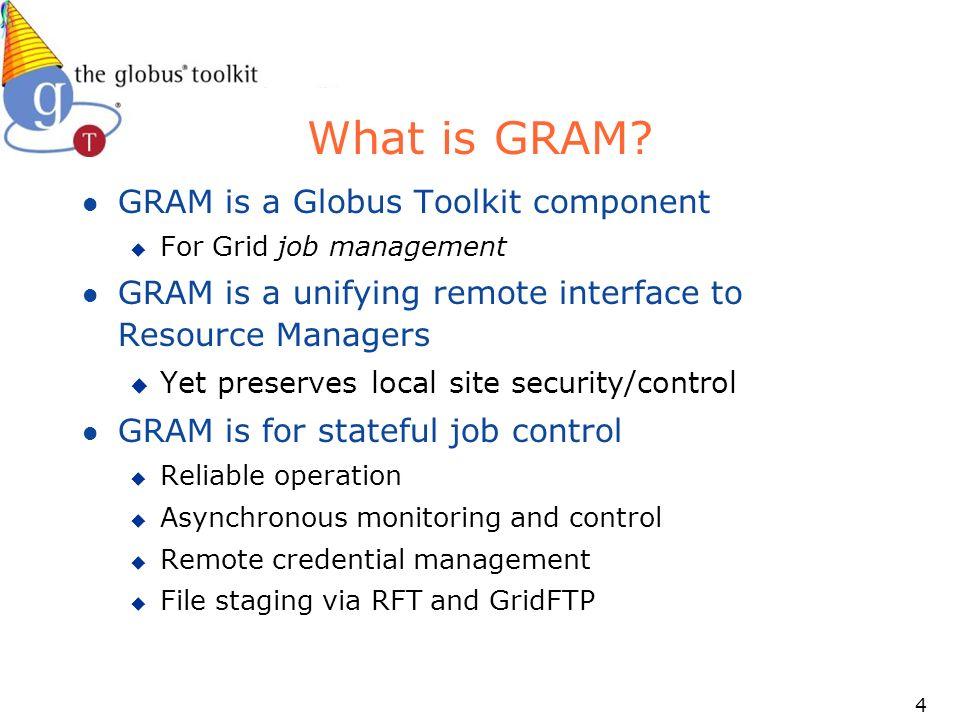 55 WS GRAM Standards Compliance l JSDL u Target is 4.1.1 (definitely 4.2.0) u Will preserve current interface, so 4.0.x job descriptions will work just fine u Adding new createManagedJobFromJSDLDocument operation u Globusrun-ws will choose appropriate create operation based on job description contents l OGSA-BES u Target is 4.4 (spec is not finished, so 4.2 is unlikely) u Will preserve 4.0.x interface as well