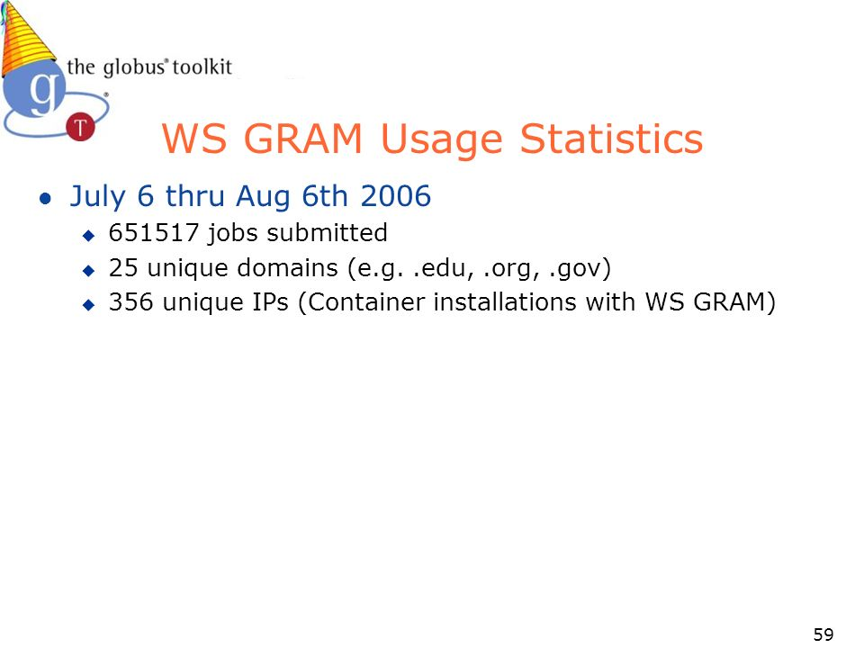 59 WS GRAM Usage Statistics l July 6 thru Aug 6th 2006 u jobs submitted u 25 unique domains (e.g..edu,.org,.gov) u 356 unique IPs (Container installations with WS GRAM)