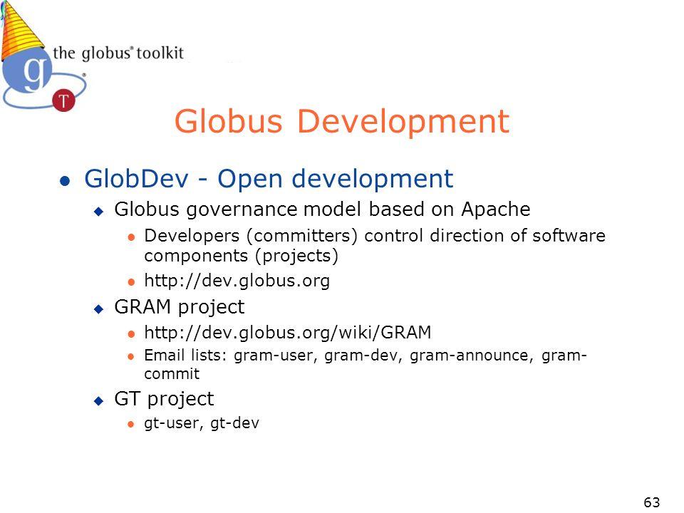 63 Globus Development l GlobDev - Open development u Globus governance model based on Apache l Developers (committers) control direction of software components (projects) l http://dev.globus.org u GRAM project l http://dev.globus.org/wiki/GRAM l Email lists: gram-user, gram-dev, gram-announce, gram- commit u GT project l gt-user, gt-dev