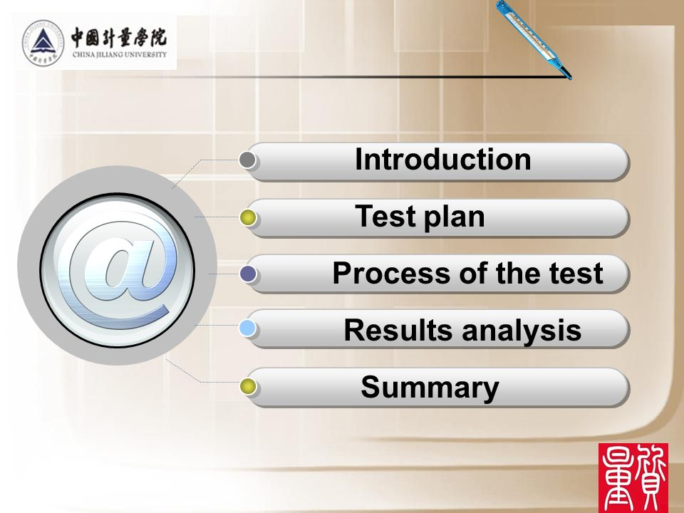 Introduction Test plan Process of the test Results analysis Summary