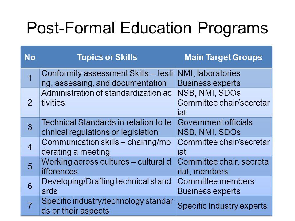 Post-Formal Education Programs