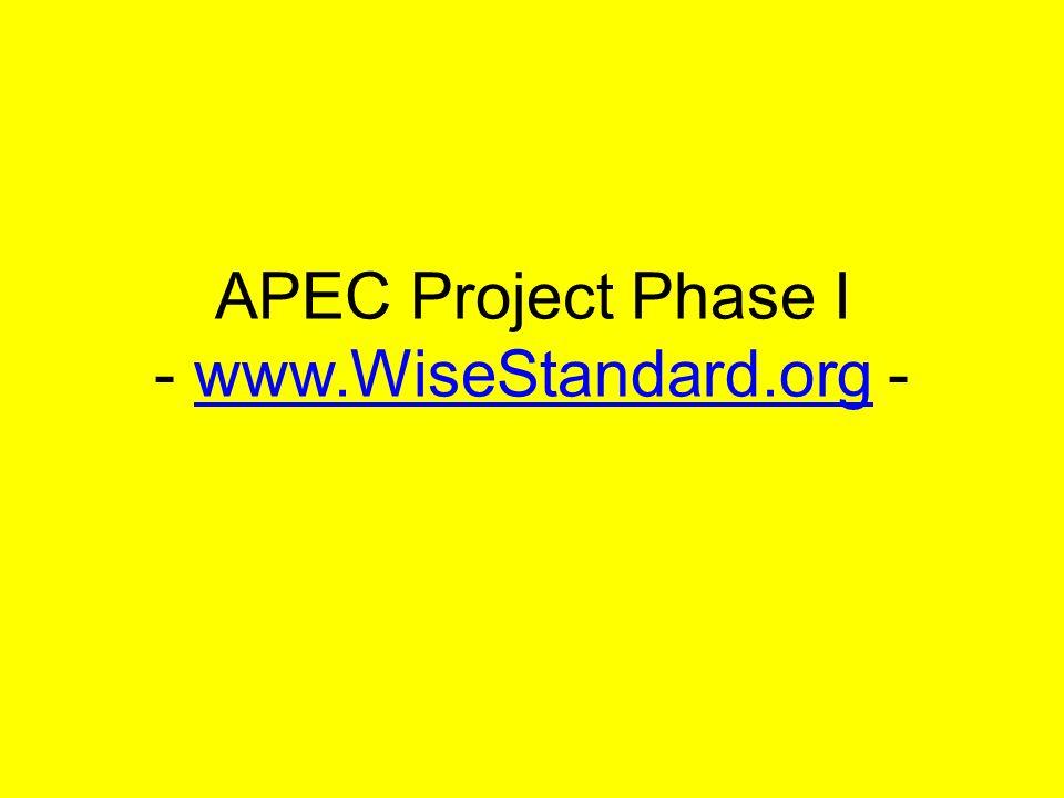APEC Project Phase I - www.WiseStandard.org -www.WiseStandard.org