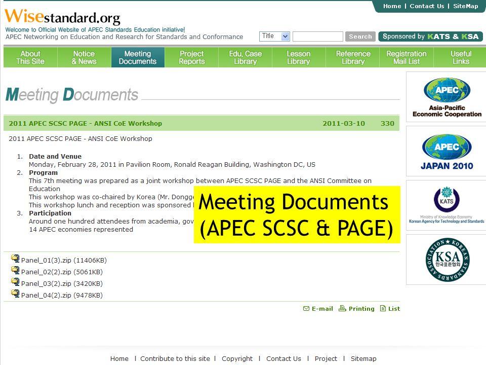 Meeting Documents (APEC SCSC & PAGE)