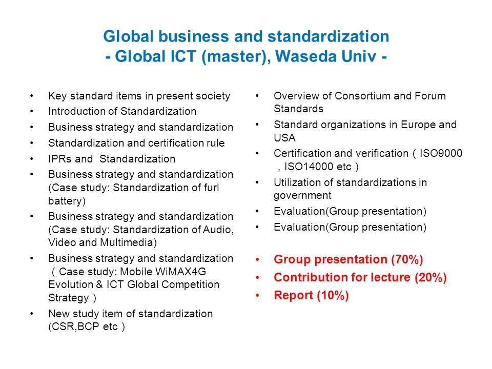 Global business and standardization - Global ICT (master), Waseda Univ - Key standard items in present society Introduction of Standardization Busines