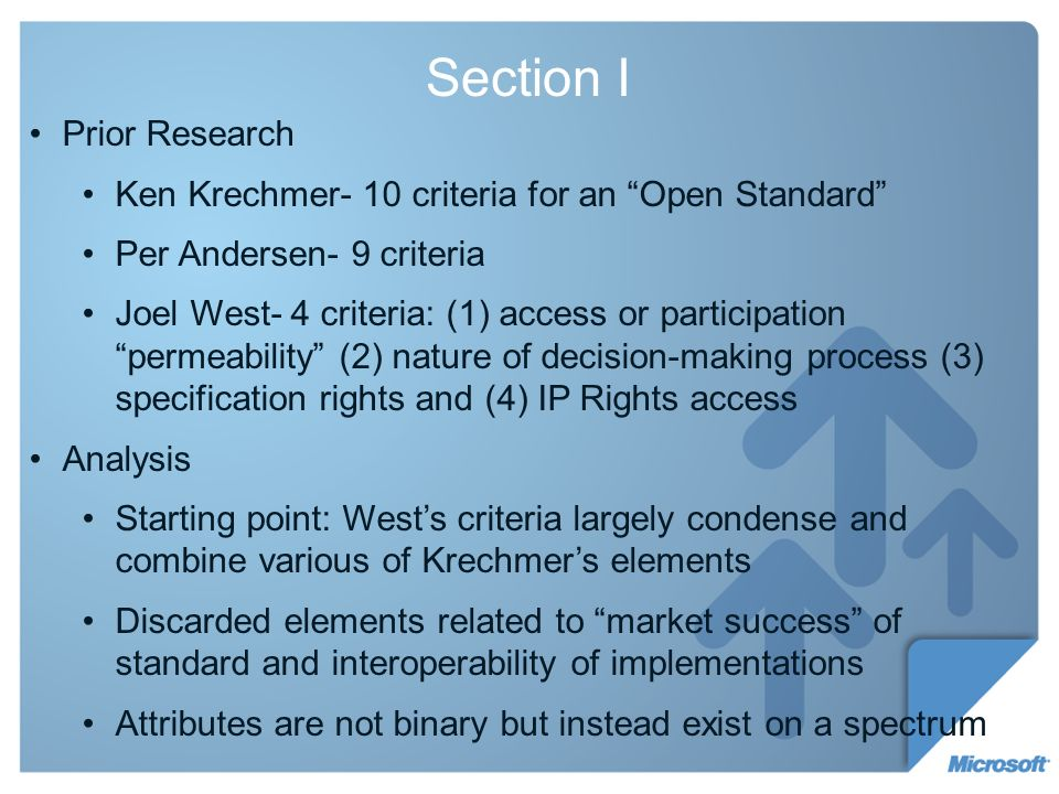 Section I Prior Research Ken Krechmer- 10 criteria for an Open Standard Per Andersen- 9 criteria Joel West- 4 criteria: (1) access or participation permeability (2) nature of decision-making process (3) specification rights and (4) IP Rights access Analysis Starting point: Wests criteria largely condense and combine various of Krechmers elements Discarded elements related to market success of standard and interoperability of implementations Attributes are not binary but instead exist on a spectrum