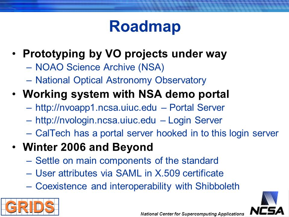 National Center for Supercomputing Applications Roadmap Prototyping by VO projects under way –NOAO Science Archive (NSA) –National Optical Astronomy O