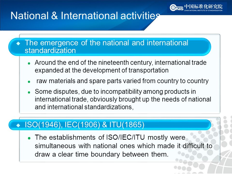 National & International activities ISO(1946), IEC(1906) & ITU(1865) The establishments of ISO/IEC/ITU mostly were simultaneous with national ones which made it difficult to draw a clear time boundary between them.