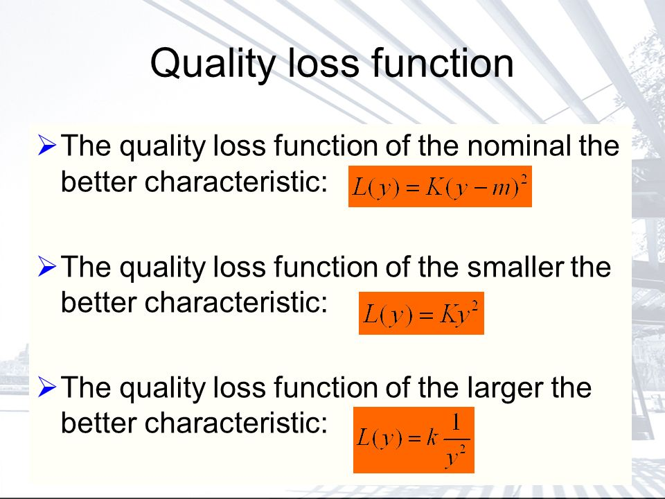 Quality loss function The quality loss function of the nominal the better characteristic: The quality loss function of the smaller the better characteristic: The quality loss function of the larger the better characteristic: