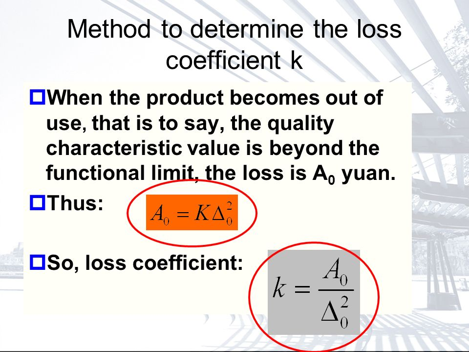 Method to determine the loss coefficient k When the product becomes out of use, that is to say, the quality characteristic value is beyond the functional limit, the loss is A 0 yuan.