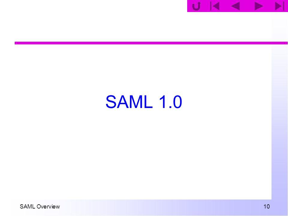 SAML Overview 10 SAML 1.0