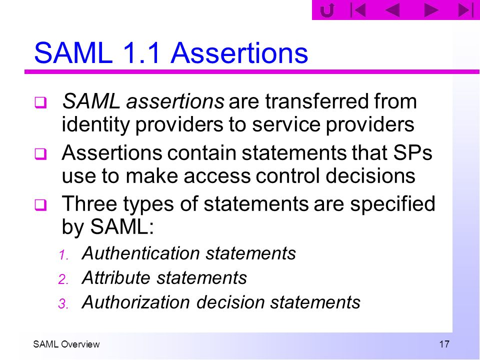 SAML Overview 17 SAML 1.1 Assertions SAML assertions are transferred from identity providers to service providers Assertions contain statements that S