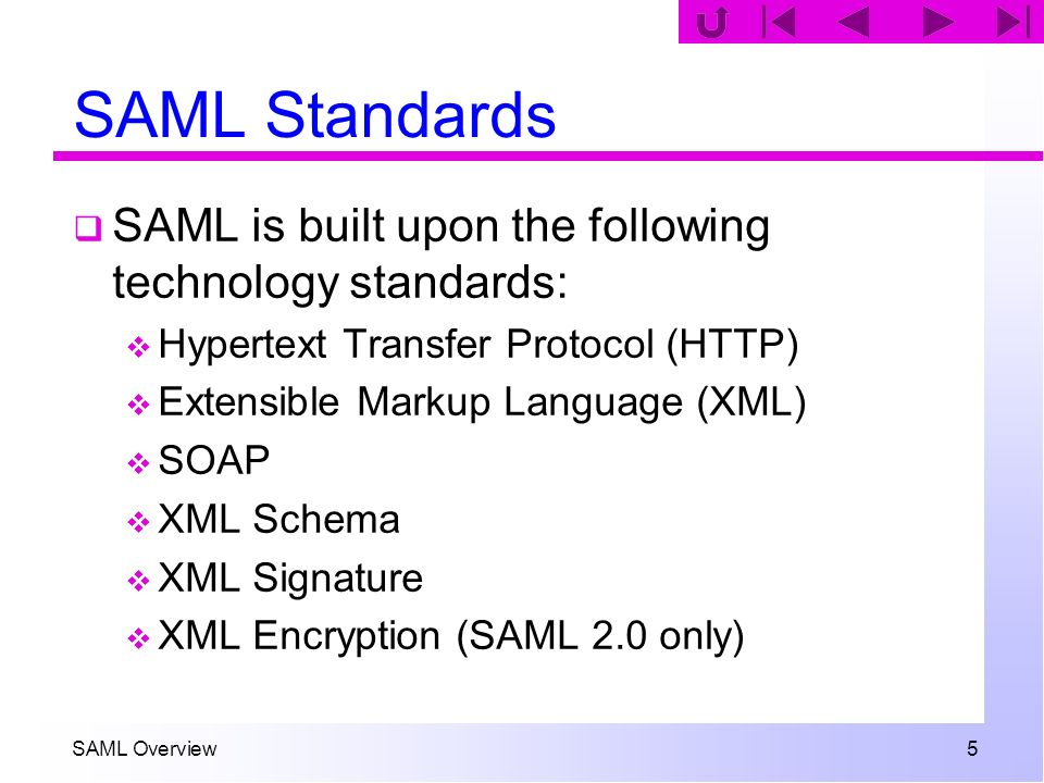 SAML Overview 5 SAML Standards SAML is built upon the following technology standards: Hypertext Transfer Protocol (HTTP) Extensible Markup Language (X