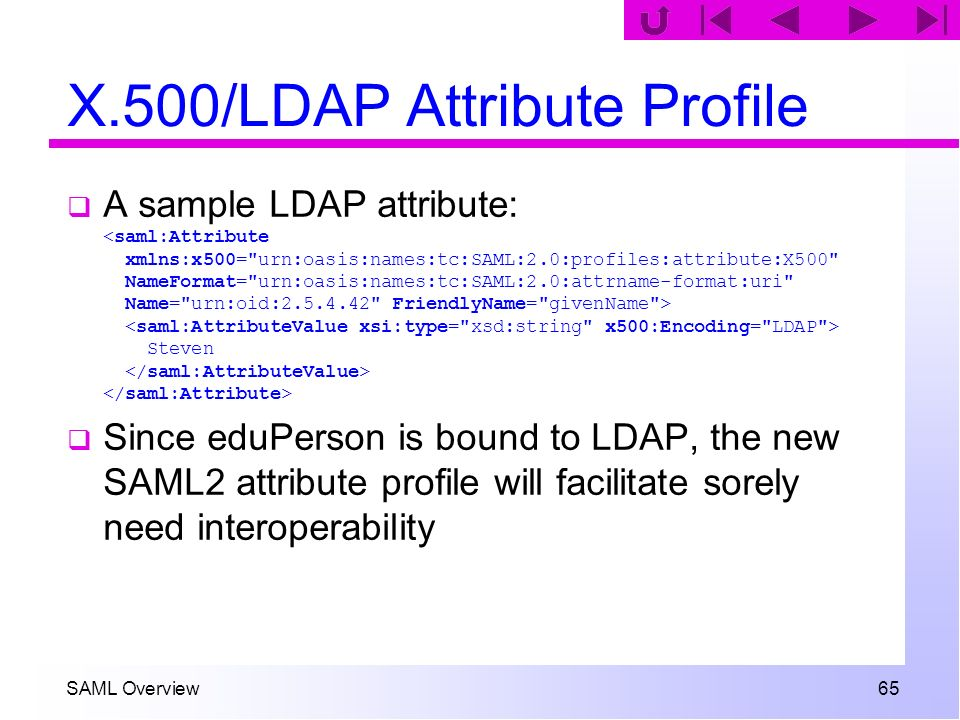 SAML Overview 65 X.500/LDAP Attribute Profile A sample LDAP attribute: Steven Since eduPerson is bound to LDAP, the new SAML2 attribute profile will f