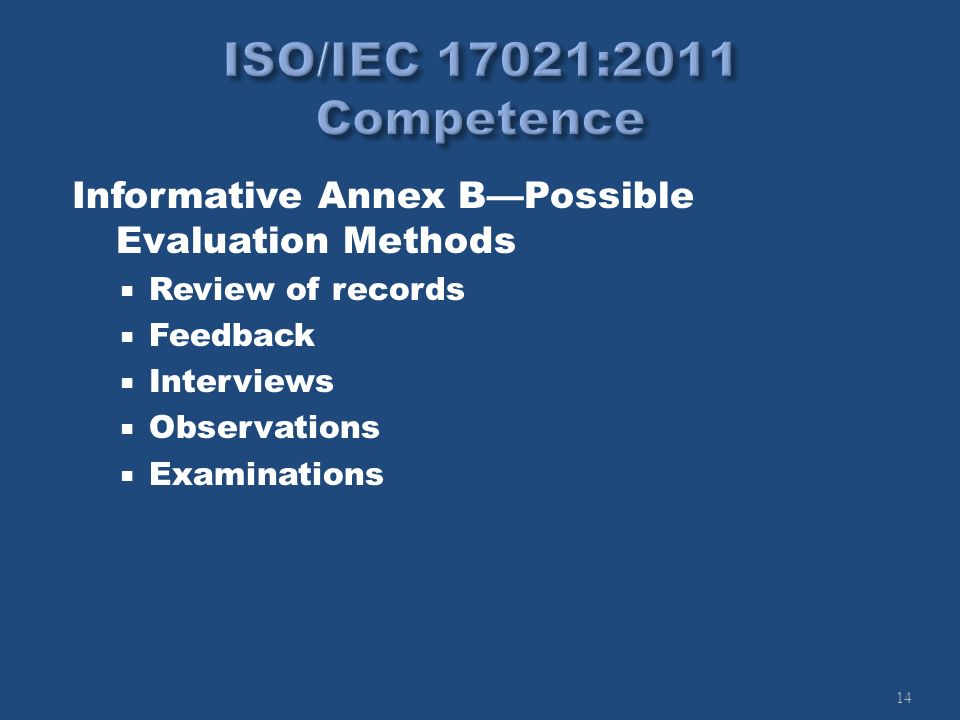 14 Informative Annex BPossible Evaluation Methods Review of records Feedback Interviews Observations Examinations