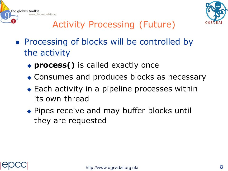 9 http://www.ogsadai.org.uk/ Current Release Activity A processBlock() Activity B processBlock() Request Processor processBlock getBlock block processBlock block Called repeatedly Pipe