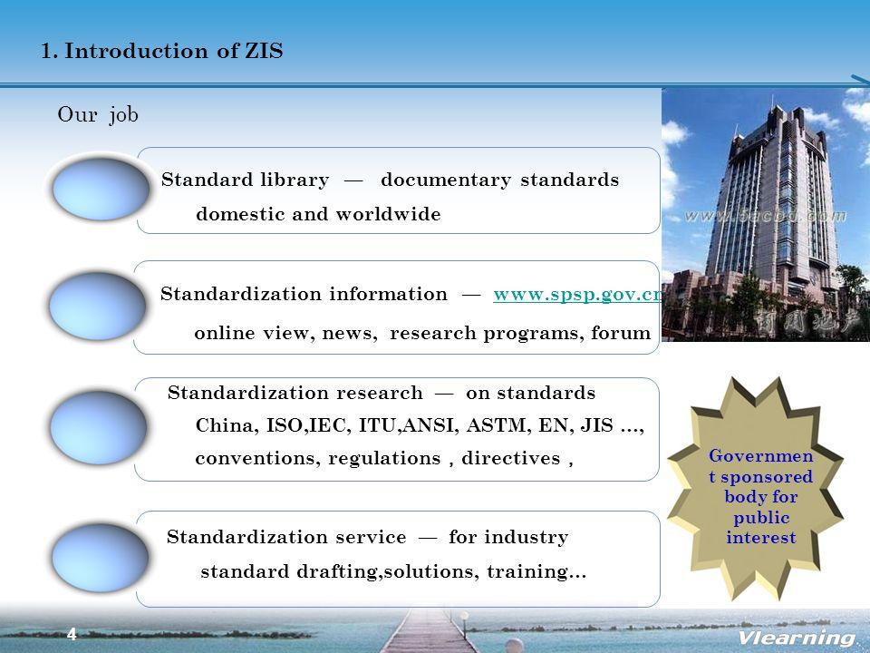 4 1. Introduction of ZIS Our job Standardization information www.spsp.gov.cnwww.spsp.gov.cn online view, news, research programs, forum Standardizatio