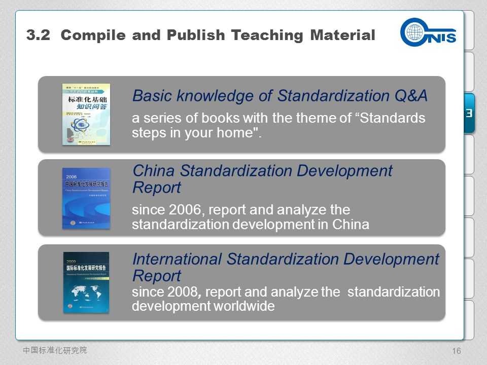 3 3.2 Compile and Publish Teaching Material Basic knowledge of Standardization Q&A a series of books with the theme of Standards steps in your home .