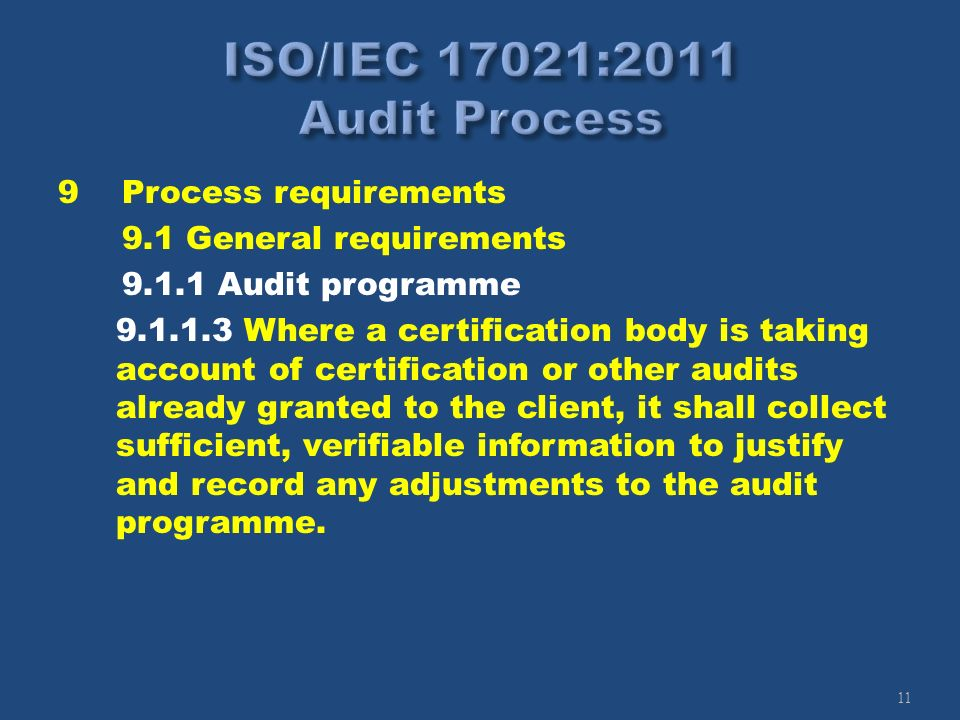 11 9Process requirements 9.1 General requirements 9.1.1 Audit programme 9.1.1.3 Where a certification body is taking account of certification or other