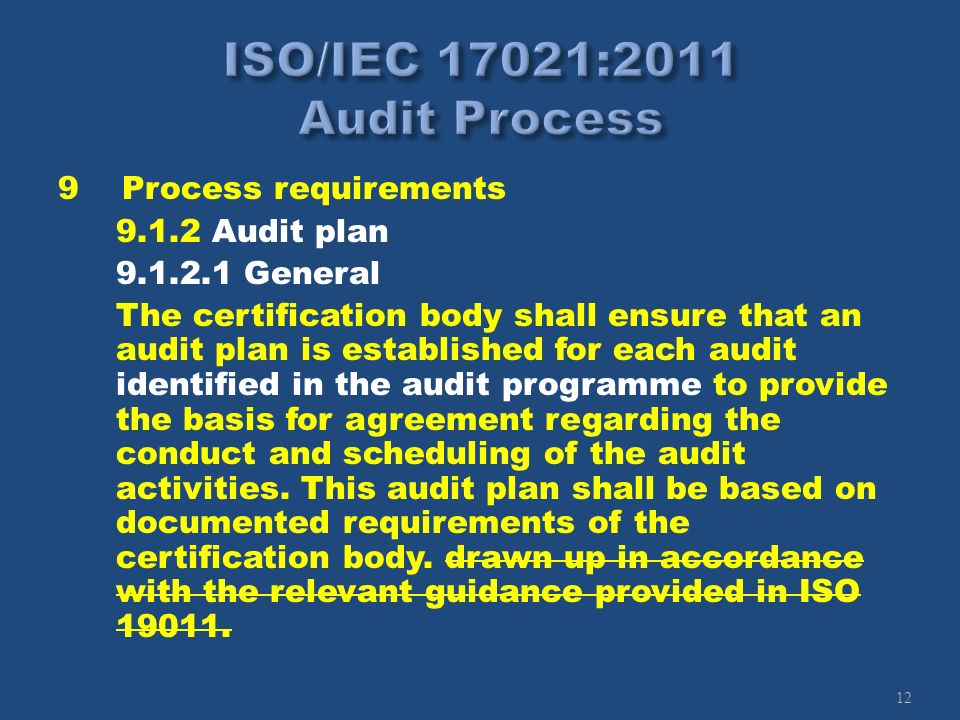 12 9Process requirements 9.1.2 Audit plan 9.1.2.1 General The certification body shall ensure that an audit plan is established for each audit identif