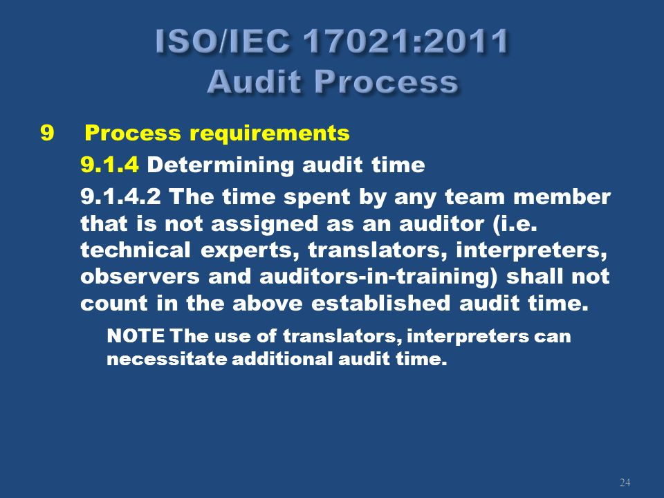 24 9Process requirements 9.1.4 Determining audit time 9.1.4.2 The time spent by any team member that is not assigned as an auditor (i.e. technical exp