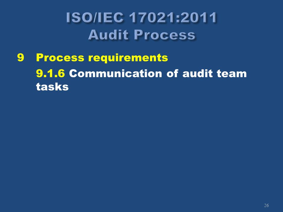 26 9Process requirements 9.1.6 Communication of audit team tasks