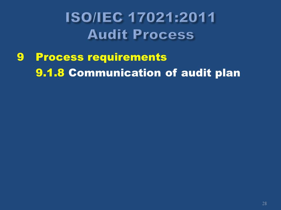28 9Process requirements 9.1.8 Communication of audit plan