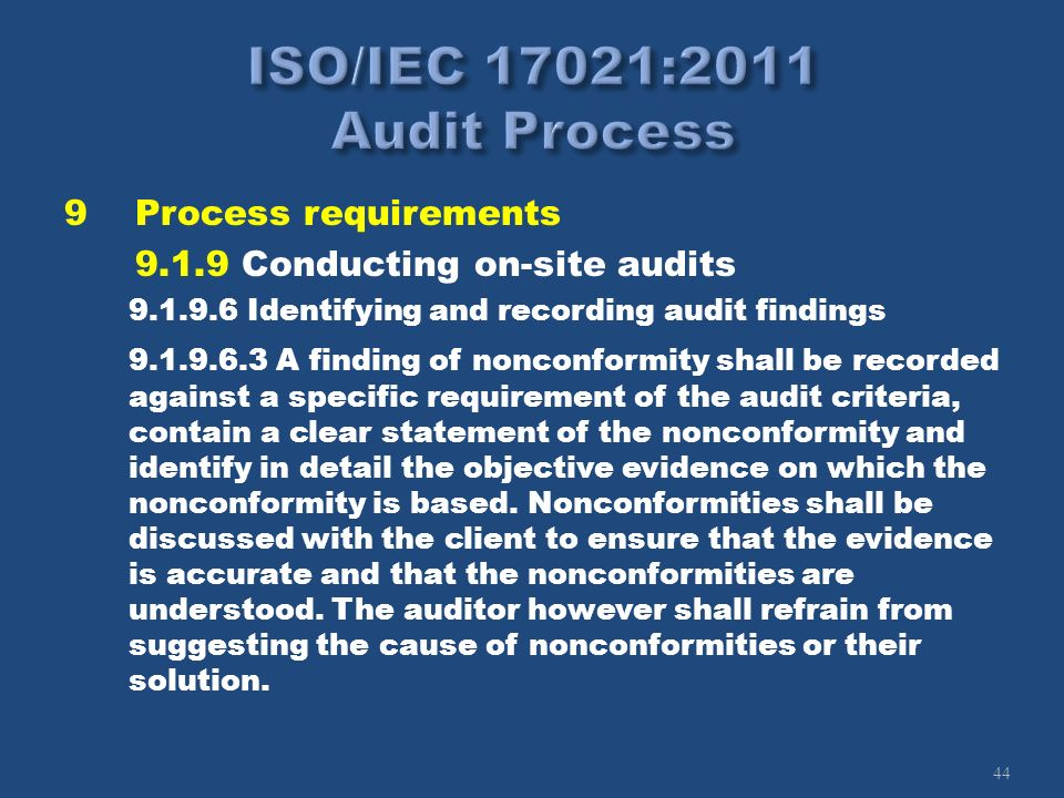 44 9Process requirements 9.1.9 Conducting on-site audits 9.1.9.6 Identifying and recording audit findings 9.1.9.6.3 A finding of nonconformity shall b