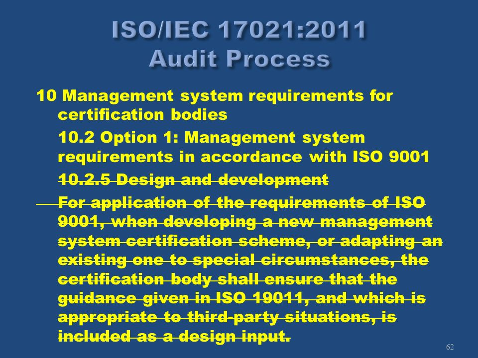 62 10 Management system requirements for certification bodies 10.2 Option 1: Management system requirements in accordance with ISO 9001 10.2.5 Design