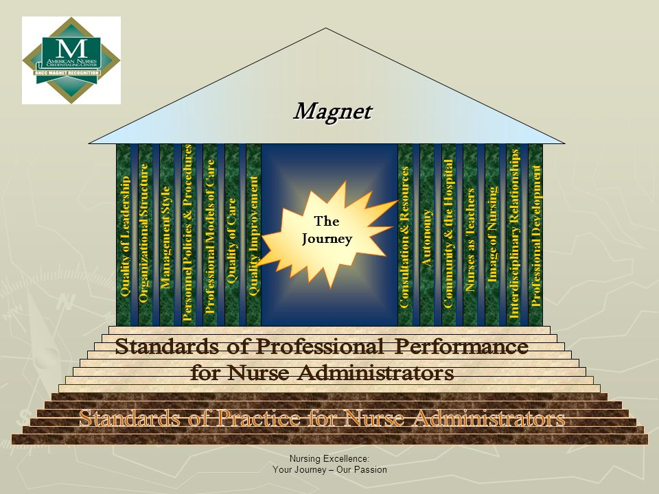 Nursing Excellence: Your Journey – Our Passion The Journey Magnet Quality of Leadership Organizational Structure Management Style Personnel Policies & Procedures Professional Models of Care Quality of Care Quality Improvement Consultation & Resources Autonomy Community & the Hospital Nurses as Teachers Image of Nursing Interdisciplinary Relationships Professional Development