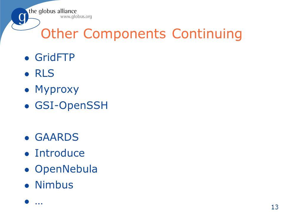 13 Other Components Continuing l GridFTP l RLS l Myproxy l GSI-OpenSSH l GAARDS l Introduce l OpenNebula l Nimbus l …