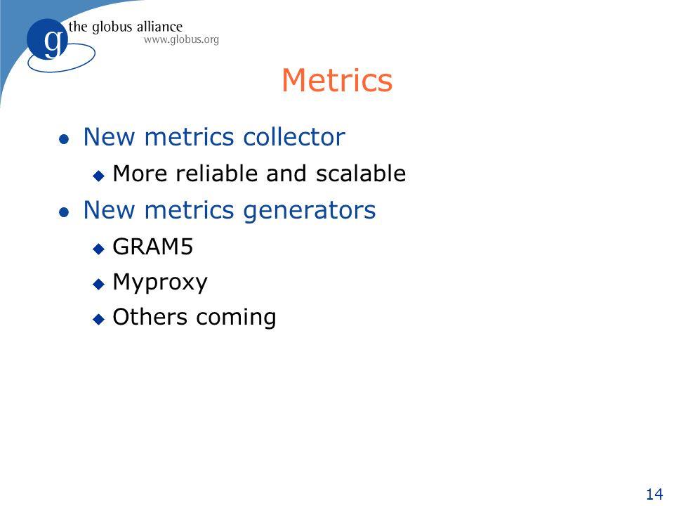 14 Metrics l New metrics collector u More reliable and scalable l New metrics generators u GRAM5 u Myproxy u Others coming
