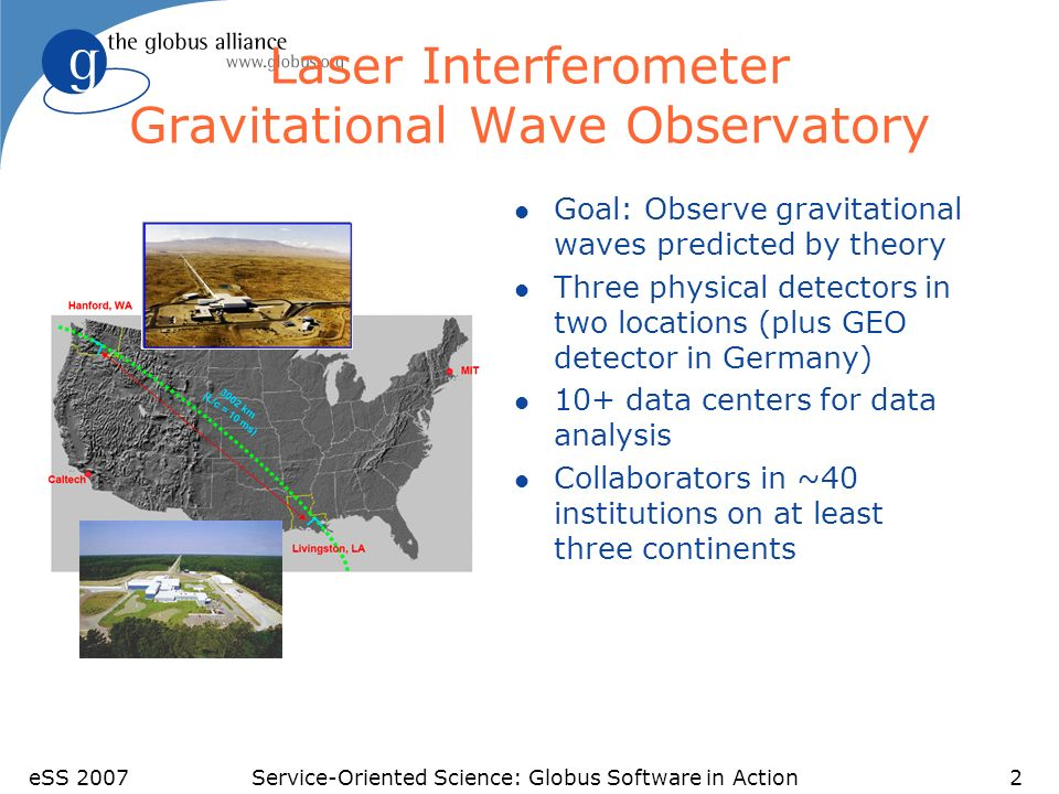 eSS 2007Service-Oriented Science: Globus Software in Action2 Laser Interferometer Gravitational Wave Observatory l Goal: Observe gravitational waves predicted by theory l Three physical detectors in two locations (plus GEO detector in Germany) l 10+ data centers for data analysis l Collaborators in ~40 institutions on at least three continents