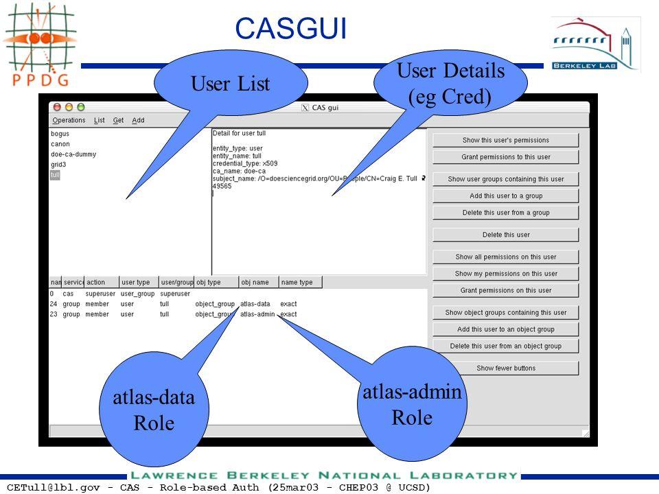 CETull@lbl.gov - CAS - Role-based Auth (25mar03 - CHEP03 @ UCSD) CASGUI User List User Details (eg Cred) atlas-data Role atlas-admin Role